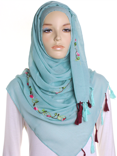 Light Green Cotton Tassel Hijab - Hijab Store Online