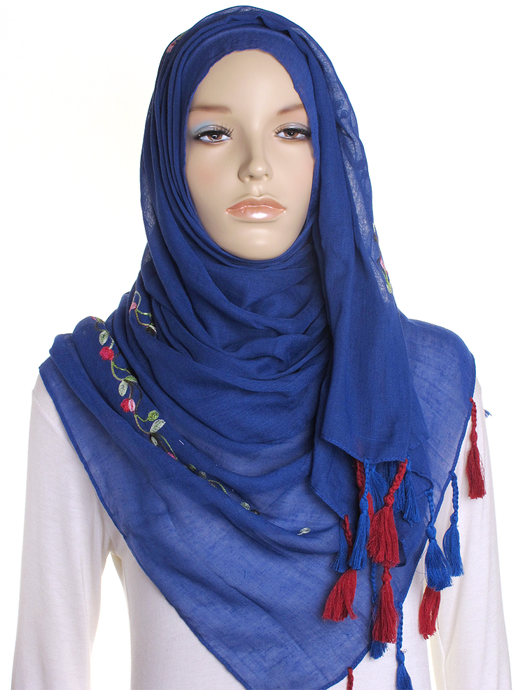 Royal Blue Cotton Tassel Hijab - Hijab Store Online