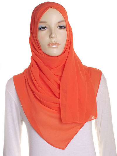 Orange Tiger Lily Chiffon Hijab