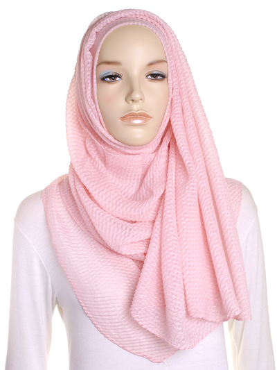 Baby Pink Pleated Crinkle Hijab - Hijab Store Online