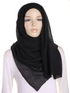 Black Pleated Crinkle Hijab