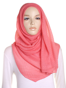 Coral Pleated Crinkle Hijab - Hijab Store Online