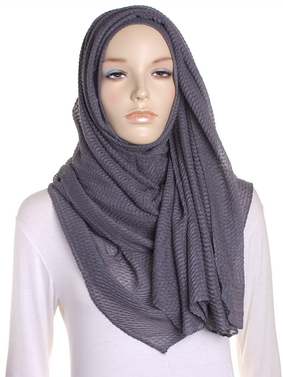 Dark Grey Pleated Crinkle Hijab - Hijab Store Online