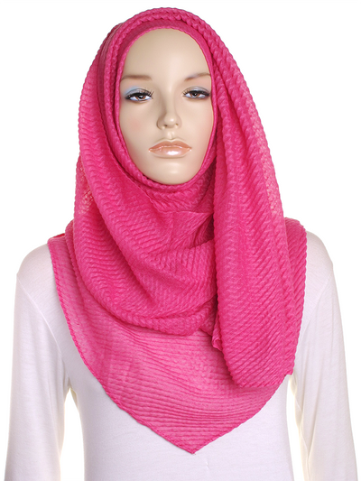 Hot Pink Pleated Crinkle Hijab - Hijab Store Online