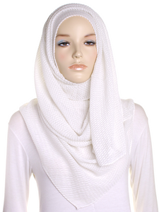 Ivory Pleated Crinkle Hijab
