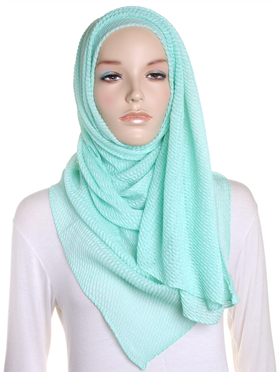 Mint Ice Cream Pleated Crinkle Hijab - Hijab Store Online