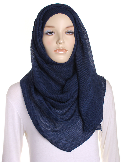 Navy Pleated Crinkle Hijab - Hijab Store Online