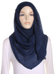Navy Pleated Crinkle Hijab