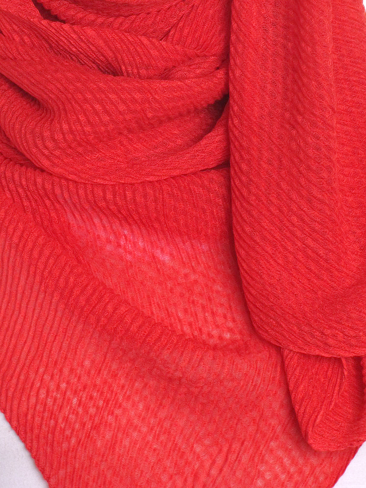 Red Pleated Crinkle Hijab - Hijab Store Online