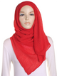 Red Pleated Crinkle Hijab