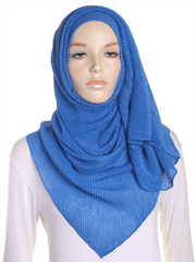 Royal Blue Pleated Crinkle Hijab - Hijab Store Online