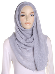 Silver Pleated Crinkle Hijab - Hijab Store Online