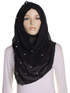 Black Pearl Beaded Crinkle Hijab
