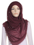 Burgundy Pearl Beaded Crinkle Hijab