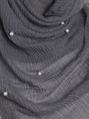 Charcoal Pearl Beaded Crinkle Hijab - Hijab Store Online