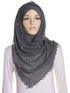 Charcoal Pearl Beaded Crinkle Hijab