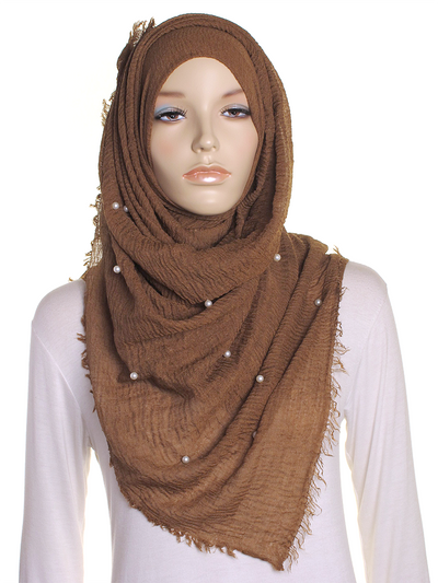 Chestnut Pearl Beaded Crinkle Hijab - Hijab Store Online