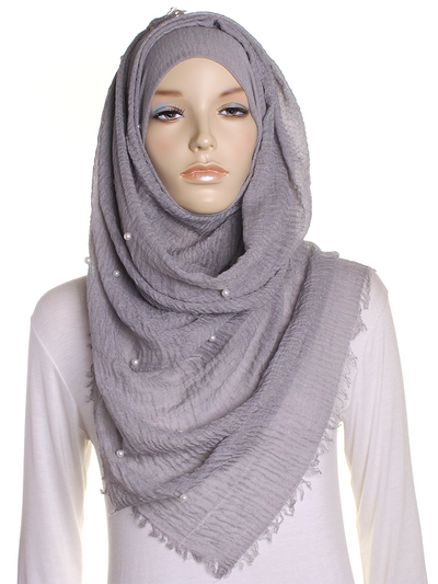 Cloud Grey Pearl Beaded Crinkle Hijab - Hijab Store Online