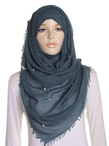 Dark Green Pearl Beaded Crinkle Hijab