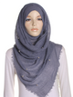 Dark Grey Pearl Beaded Crinkle Hijab