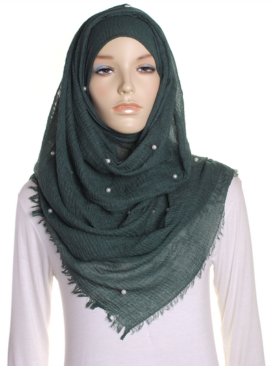 Emerald Pearl Beaded Crinkle Hijab - Hijab Store Online