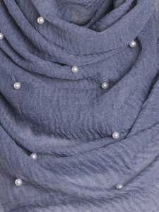 Graphite Grey Pearl Beaded Crinkle Hijab