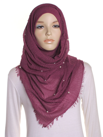 Mulberry Pearl Beaded Crinkle Hijab - Hijab Store Online