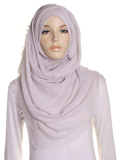 Oyster Grey Pearl Beaded Crinkle Hijab - Hijab Store Online