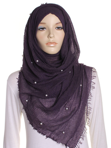 Purple Pearl Beaded Crinkle Hijab