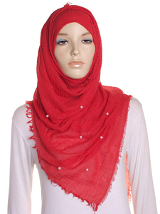 Red Pearl Beaded Crinkle Hijab
