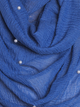 Royal Blue Pearl Beaded Crinkle Hijab
