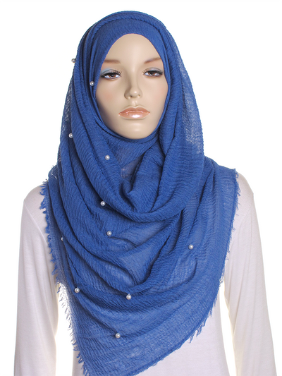 Royal Blue Pearl Beaded Crinkle Hijab - Hijab Store Online