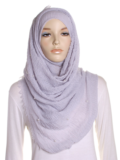 Silver Pearl Beaded Crinkle Hijab - Hijab Store Online