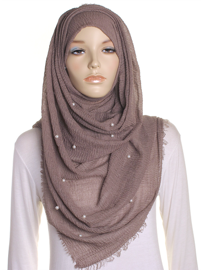 Taupe Pearl Beaded Crinkle Hijab - Hijab Store Online