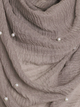 Taupe Grey Pearl Beaded Crinkle Hijab