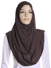 Brown Square Chiffon Hijab