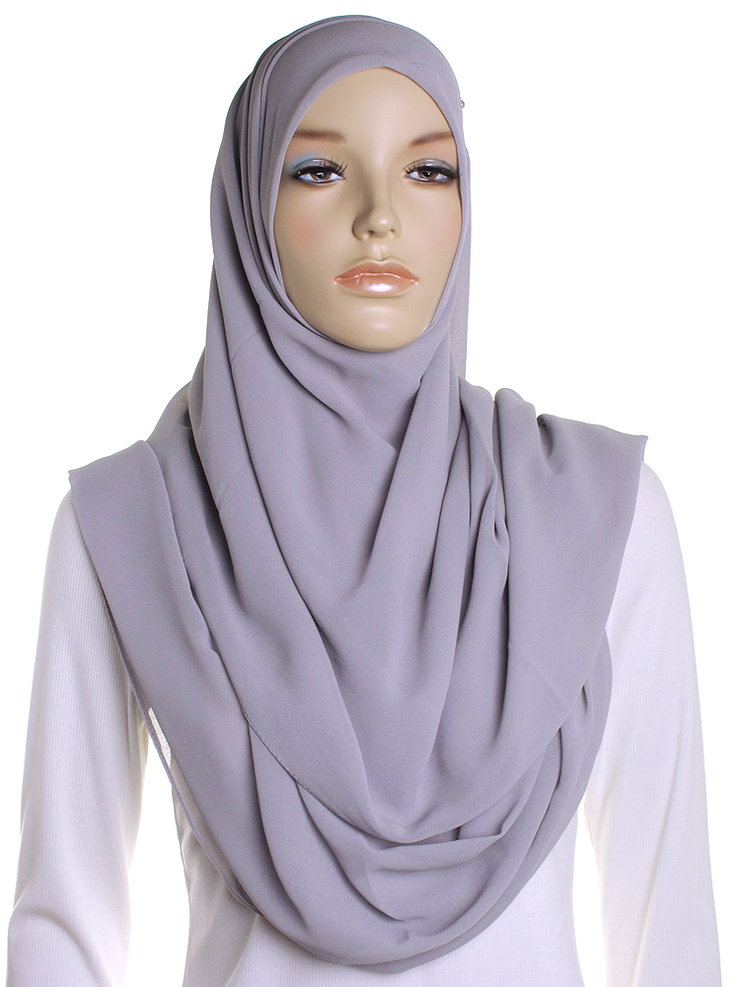 Dove Grey Square Chiffon Hijab