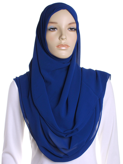 Royal Blue Square Chiffon Hijab
