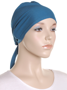 Indigo Plain Tie Back Bonnet
