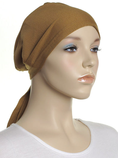 Ochre Brown Plain Tie Back Bonnet - Hijab Store Online
