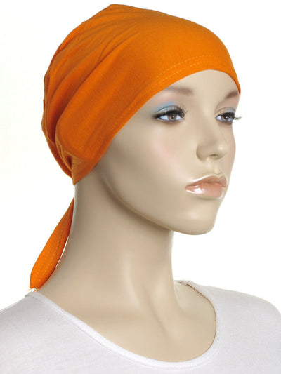 Orange Plain Tie Back Bonnet - Hijab Store Online