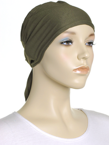 Khaki Green Plain Tie Back Bonnet