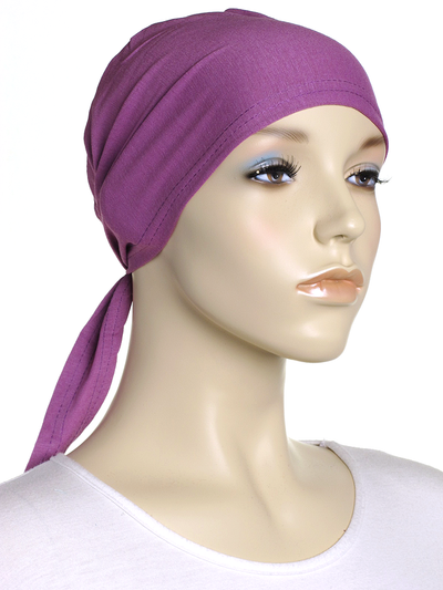 Purple Mauve Plain Tie Back Bonnet - Hijab Store Online