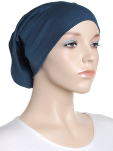 Aegean Blue Plain Cotton Tube Underscarf