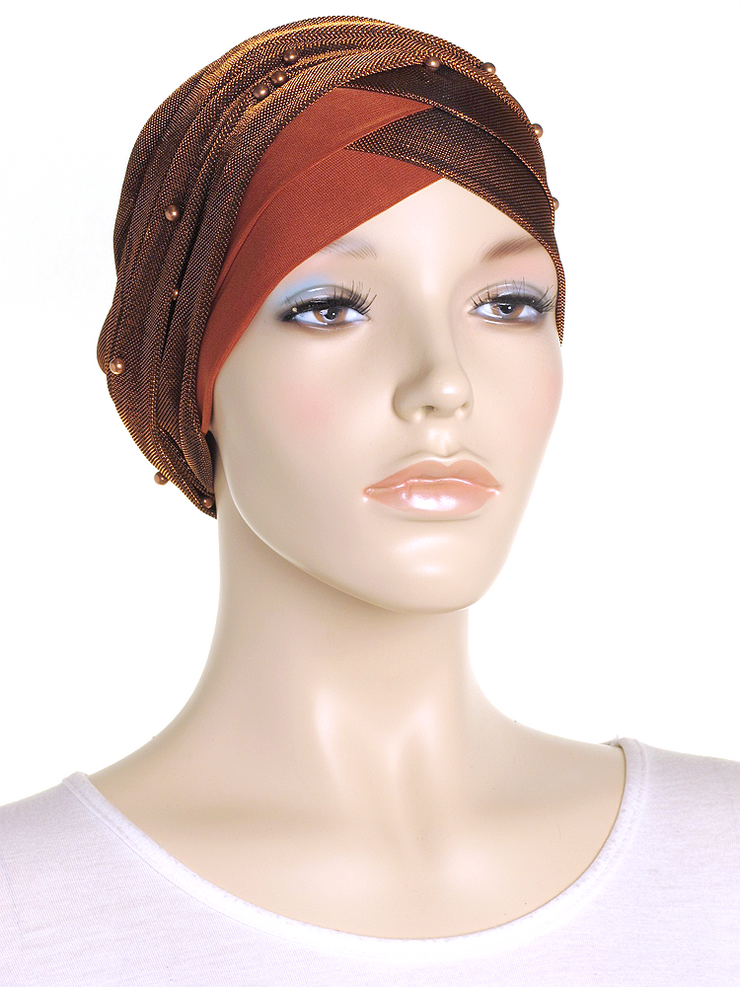 Copper Shimmer Turban Wrap Hat