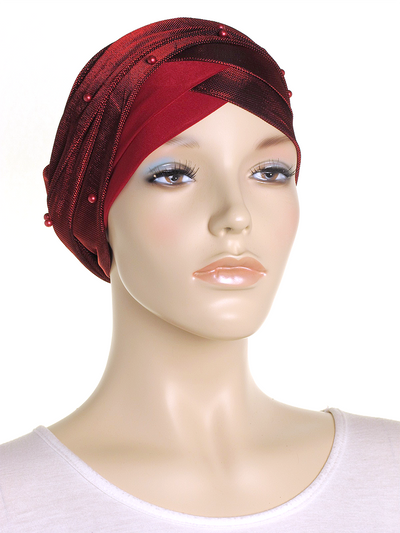 Crimson Shimmer Turban Wrap Hat