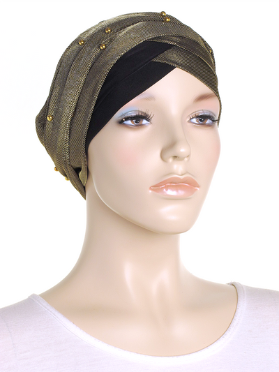 Gold Shimmer Turban Wrap Hat