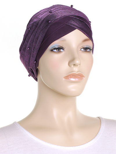 Purple Shimmer Turban Wrap Hat