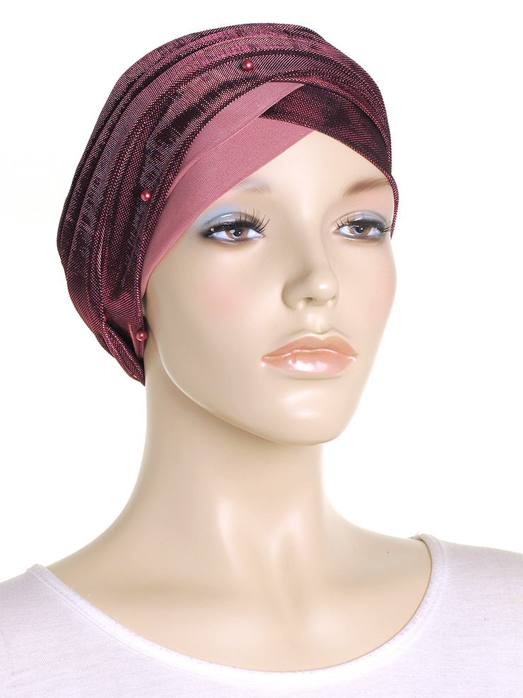 Rose Pink Shimmer Turban Wrap Hat