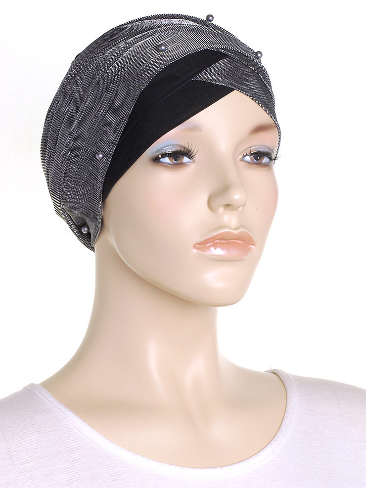 Silver Shimmer Turban Wrap Hat